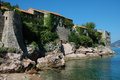 Sveti stefan coast of Royalty Free Stock Photography