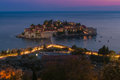 Sveti stefan island in the late evening montenegro Stock Photo