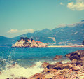 Sveti stefan island in montenegro at adriatic sea balkans european summer resort copy space toned photo Stock Images