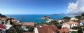 Sveti stefan island in montenegro panorama of Royalty Free Stock Photography