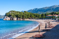 Sveti stefan montenegro view on the luxury beach in in Royalty Free Stock Photography