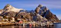 Svolvaer port in the city on lofoten on the beginning of the winter Stock Photography