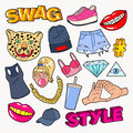 Swag Style Teenage Fashion Doodle with Lips, Hands and Accessories