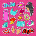 Swag Style Teenage Fashion Stickers, Badges and Patches with Girl, Hands and Clothes