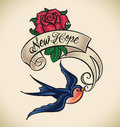 Swallow brings new hope old school styled tattoo with a banner and rose editable vector illustration Royalty Free Stock Photo