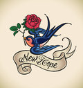 Swallow brings new hope old school styled tattoo with a banner and rose editable vector illustration Stock Photos
