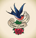 Swallow and rose old school tattoo styled with a banner editable vector illustration Royalty Free Stock Images