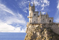 Swallow's Nest castle on the rock over the Black Sea early in the morning. Royalty Free Stock Photo