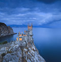 Swallow s nest castle at sunset over the sea Royalty Free Stock Image