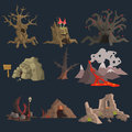 Swamp, Tree and Cave Game Set Royalty Free Stock Photo