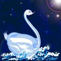 Swan floats on the waves white under night sky Royalty Free Stock Photography