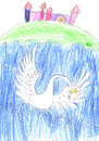Swan illustration to a fairy tale children s work Stock Photo
