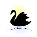 Swan silhouette cartoon line art Stock Photo
