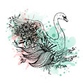 Swan watercolor, abstract graphic colored bird, print. Royalty Free Stock Photo