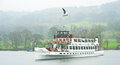 Swan on windermere after refit maiden voyage through mist following a lake in english lake district Stock Image