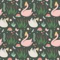 Swans Cute Seamless Pattern. M...