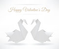 Swans origami happy valentineâ s day Stock Photos