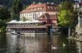 Swans on Vltava river, Prague Royalty Free Stock Photo