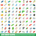100 swap icons set, isometric 3d style Royalty Free Stock Photo