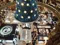Swarovski christmas tree paris france december at the famous galeries lafayette department store on the boulevard haussmann the Royalty Free Stock Photo