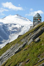 Swarovski observation tower view of the wilhelm at the grossglockner in austria Royalty Free Stock Photo