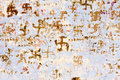 Swastika in indian temple pushkar on the wall the old Royalty Free Stock Photography
