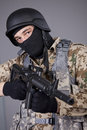 Swat commander with machine gun shot in studio Stock Photography