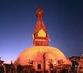 Swayambhu pagoda kathmandu valley at night view Royalty Free Stock Photography
