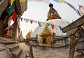 Swayambhunath (monkey temple) stupa on sunset Royalty Free Stock Photos