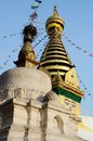 Swayambhunath stupa or monkey temple in kathmandu nepal asia famous ancient buddhist religious listed as unesco heritage Royalty Free Stock Image