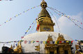Swayambhunath temple or monkey temple with wisdom eyes people of nepali and traveler go to for pray in kathmandu nepal Stock Image