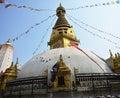 Swayambhunath temple or monkey temple with wisdom eyes people of nepali and traveler go to for pray in kathmandu nepal Stock Image