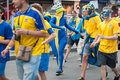Sweden fans in euro kyiv ukraine june and ukrainian arrive the fanzone before match between england on june kyiv ukraine Royalty Free Stock Photos