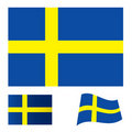 Sweden flag set Royalty Free Stock Photo