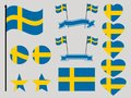 Sweden flag set. Collection of symbols heart and circle. Vector Royalty Free Stock Photo