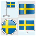 Sweden flag set of sticker button label and fl various flagstaff Stock Photos