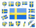 Sweden Flag Vector Set Royalty Free Stock Photo