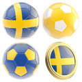 Sweden football team attributes isolated set of four soccer ball on white Royalty Free Stock Image