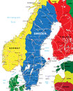 Sweden map highly detailed vector of with administrative regions main cities and roads Stock Photos