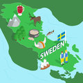 Sweden map, isometric 3d style Royalty Free Stock Photo