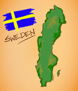 Sweden Map and National Flag Vector Royalty Free Stock Photo