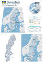 Sweden maps with markers set of the political and symbols for infographic Stock Images
