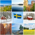 Sweden swedish flag city countryside and nature collection of images Stock Image