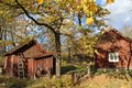 Sweden swedish traditional habitat in the park skansen in central stockholm in the autumn Royalty Free Stock Photo