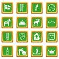 Sweden travel icons set green