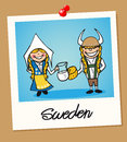 Sweden travel polaroid people swedish man and woman cartoon couple in vintage instant photo frame vector illustration layered for Stock Photos