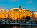 Sweden - winter Stockholm view to Gamlastan from water at sunset Royalty Free Stock Photo
