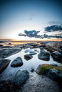 Swedish coast rocky in sweden on a summer evening Royalty Free Stock Photo