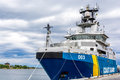 Swedish cost guard ship in karlskrona sea port Royalty Free Stock Images