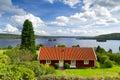 Swedish cottage house at the lake Royalty Free Stock Photo